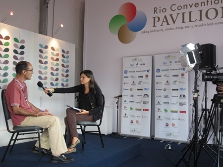 Golo being interviewed at the Rio+20 TV