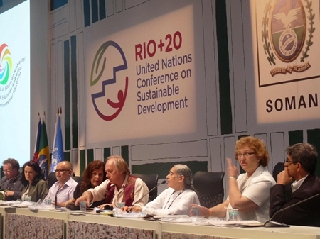 Sister Jayanti on Panel organized by the Goverment of Rio de Jeniro with Jose Vicente de Freitas, Carlos Mink and Moema Viezzer