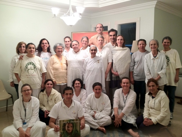 International Delegation with Sister Jayanti, along with the Brazilian Team at the House in Barra on the final moring before departure