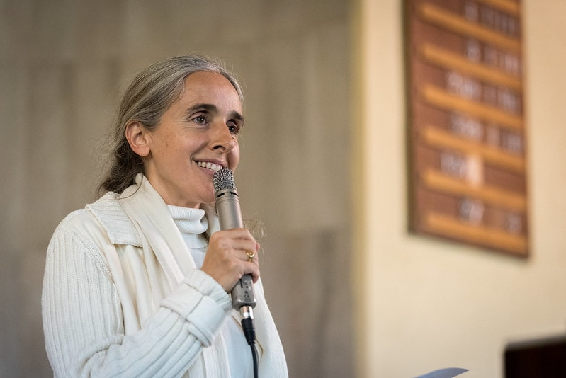 1 December 2019, Madrid, Spain: Brahma Kumaris representative Esperanza shares a word of prayer, as representatives of various faiths gather in the Iglesa de Jesús (Church of Christ) of the Iglesia Evangélica Española (Evangelical Church of Spain) for an interfaith dialogue and prayer service on the eve of the United Nations climate conference (COP25) in Madrid, Spain.