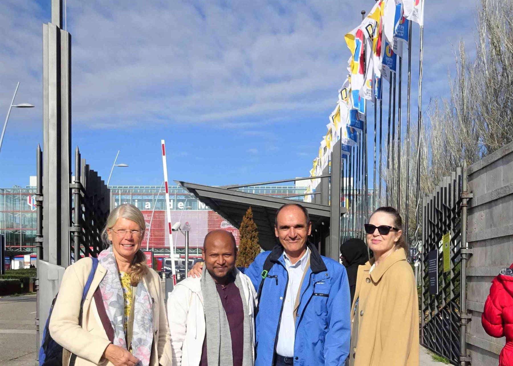 Sonja, Shantanau, Golo and Julia at the COP25 entrance