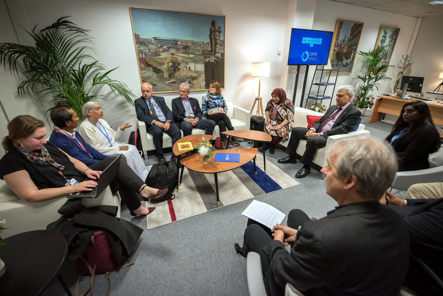 9 December 2019, Madrid, Spain: Religious leaders from a variety of faiths meet to hand over an interfaith declaration to Ovais Sarmad, deputy executive secretary of the UNFCCC, at COP25. Here, Jayanti Murli Kirpalani from Brahma Kumaris (left).