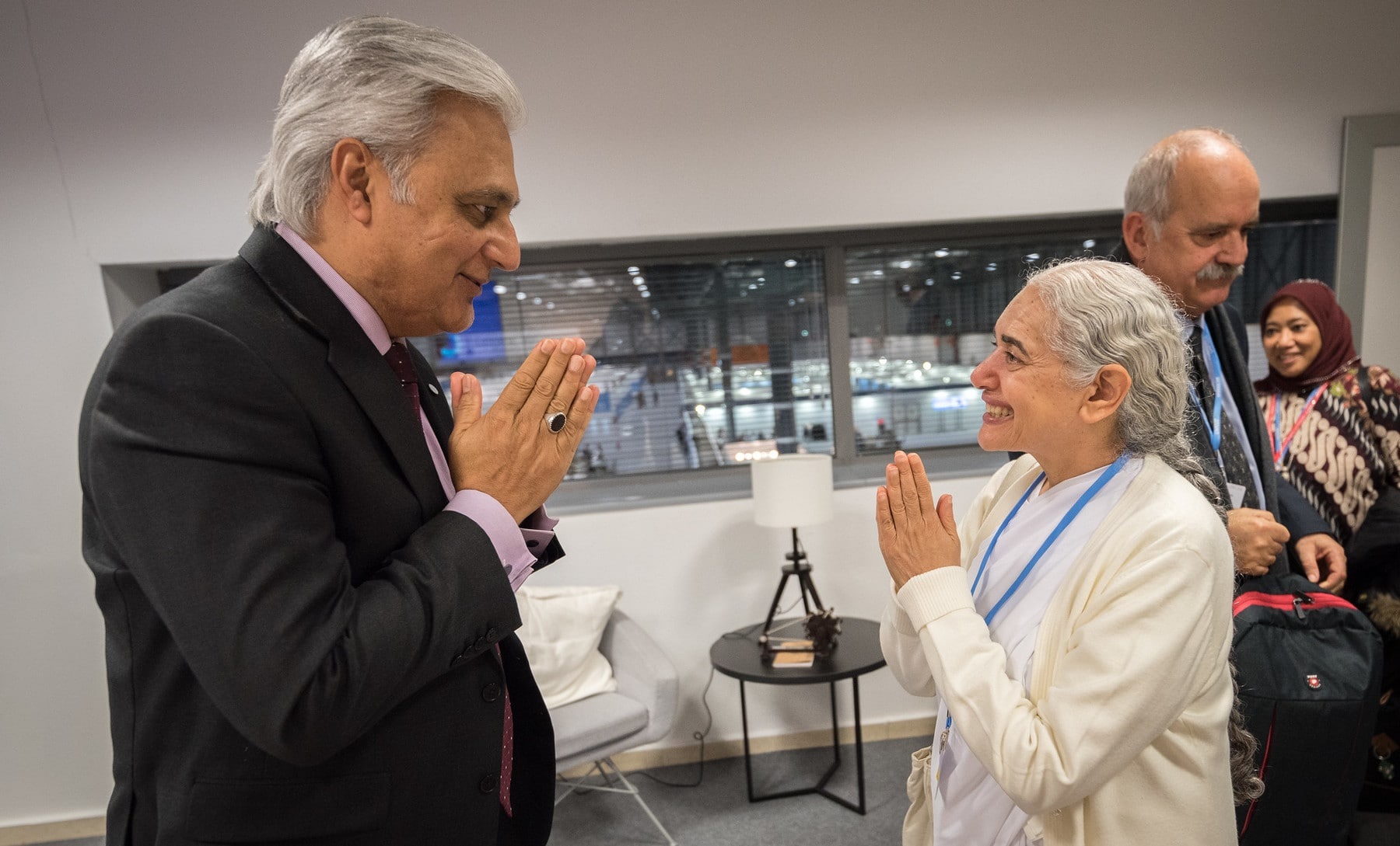 UNFCCC Deputy Executive Secretary greeting Sister Jayanti