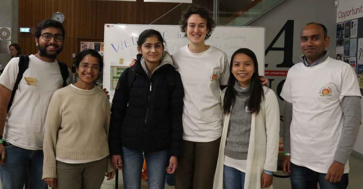 Delegates of Brahma Kumaris Environment Initiative at LCOY Netherlands  (from left to right, Niranjan, Deepa, Akansha, Ilja, JC, Madhava)